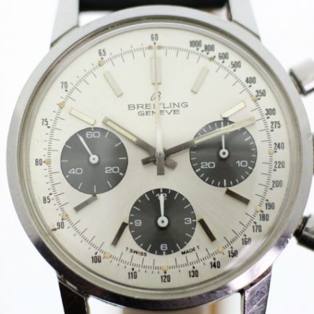"1973 Geneve ""Long Playing"" Ref. 815 Chronograph Original Silver Dial with Three Sub-Dials Huge All Stainless Steel Case. New Breitling Steel Signed Buckle. Superb All Original Condition"