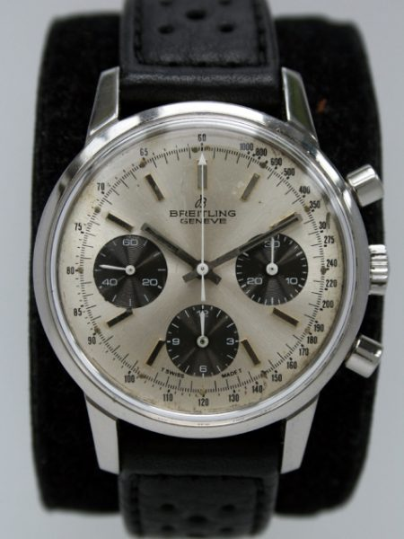 """1973 Rare Panda Dial """"Long Playing"""" Geneve Chronograph Ref. 815 in Hard to Find All Stainless Steel Case with Round Pushers Original Dial with Rare White Central Chronograph Hand"""