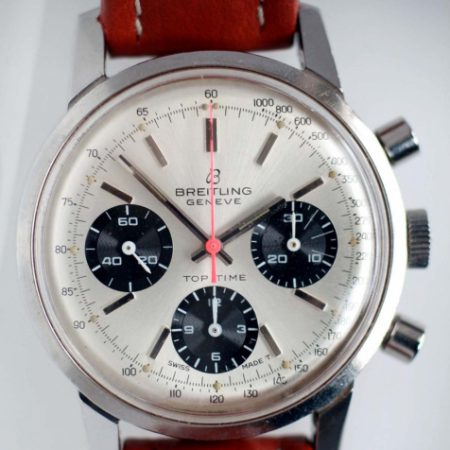 """1973 Top Time Chronograph Model Reference 810 with Large 38.5mm All Stainless Steel Case and Desirable Original """"Panda"""" Dial with Three Black Sub-Dials and Red Central Chrono Hand"""