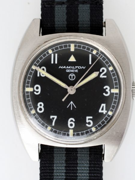 1974 Rare RAF Issued Britih Military Watch Mechanical Winding Steel Tonnaeau Case with Broadarrow Military Dial and Issue Numbers 6bb/5238290/2550/74 on the Case-Back