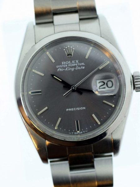 1977 Air King Date Precision Model Reference 1570 Rare Watch with Gorgeous Original Grey Dial on Rolex Oyster Steel Bracelet All in Mint 100% Original Condition