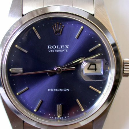 1978 Oysterdate Ref. 6694 Manual Wind with Rare Original Rolex Deep Blue Dial. Mint Original 1970s Condition on Original Rolex Oyster Stainless Steel Bracelet.
