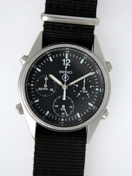 1984 First Year Generation 1 British Military RAF Pilots Chronographs with Broadarrow and Military Issue Numbers 6645-99 7683056 on Case-Back. Early G 1 Watch with Higher Grade Movement