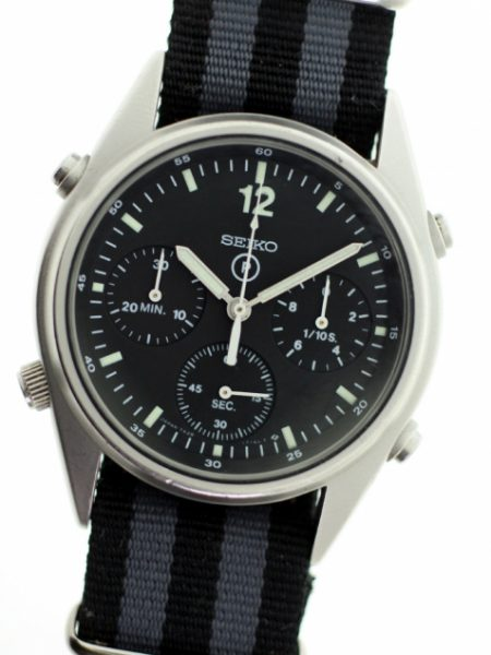 1987 Gen. 1 British Military RAF Helicopter/Jet Pilot Chronograph with Broadarrow and Correct Military Issue Numbers 6645-99 7683056 From First Gulf War