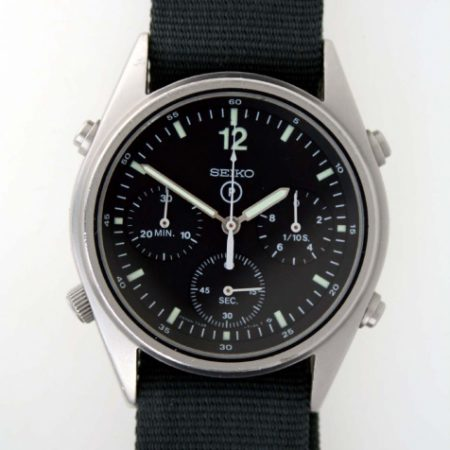 1988 Gen.1 British Military RAF Helicopter/Jet Pilot Chronograph with Broadarrow and Correct Military Issue Numbers 6645-99 7683056 From First Gulf War