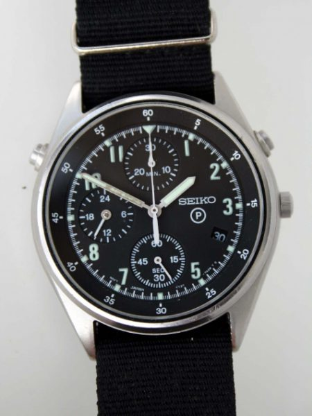 1995 Generation 2 Model Military Issued RAF Helicopter/Jet Fighter Pilots Chronograph with Broadarrow and Military Issue Markings/Numbers on Case-Back and Scractch-Free Mineral Glass