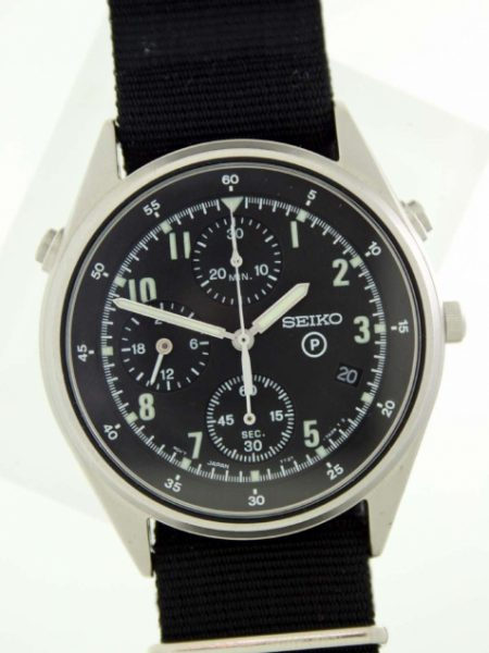 1996 British Military Issued RAF/Royal Navy Helicopter Pilot's Watch 2nd Generation Chrono Model with Broadarrow and Issue Numbers on Case-Back Comes with Official Seiko Service and Guarantee Papers