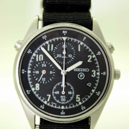 1999 RAF/Royal Navy Helicopter Pilot's Chronograph Watch 2nd Generation Model British Military Issued with Broadarrow and Issue Numbers 6645-99-8149181-2021/99 on the Case-Back