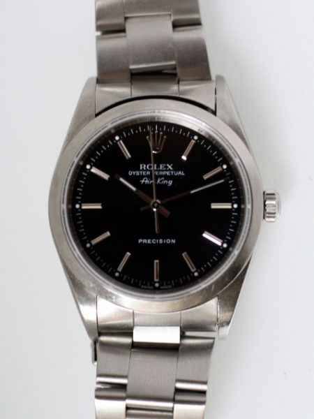 2001 Air King Oyster Perpetual Ref 14000 with Black and  Silver Dial Sapphire Glass on its Original Rolex Steel Oyster Bracelet in its Original Rolex Box
