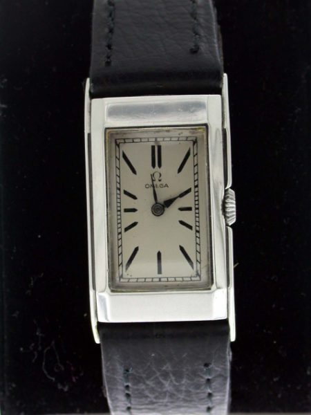 Art Deco 1930's Stainless Steel Wristwatch Very Rare Faceted Case. Lovely Art Deco Period Omega Watch.