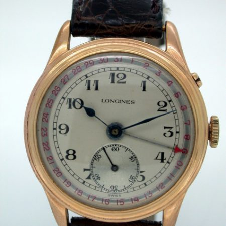 Beautiful and Rare Large 1940s Calendar Wristwatch with Red-Tipped Date Pointer