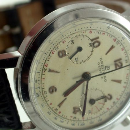 Geneve Beautiful Large Pilot's Chronograph Vintage 1956 All Stainless Steel Case. Two Sub Dials. Round Pushers. Original Hands