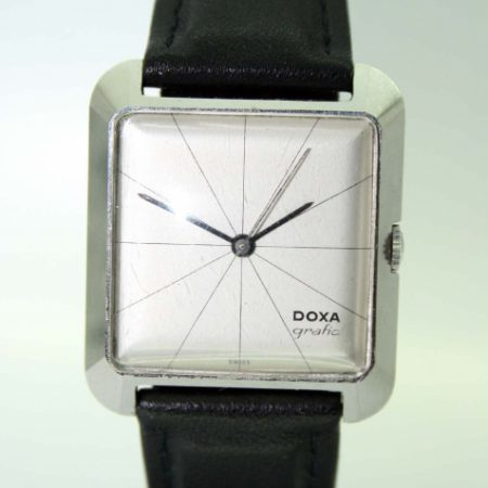 Grafic 1959 New Old Stock All Steel Square Case Wristwatch with White Dial in Perfect Condition with Minimal Black Line Design and Centre Sweep Seconds. 50's Design Classic