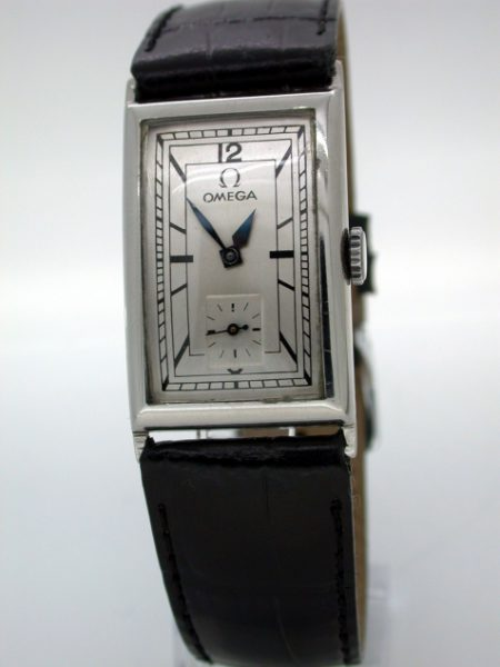 Large 1930's Omega cal. T.17 Stainless Steel Art Deco Gentleman's Wristwatch