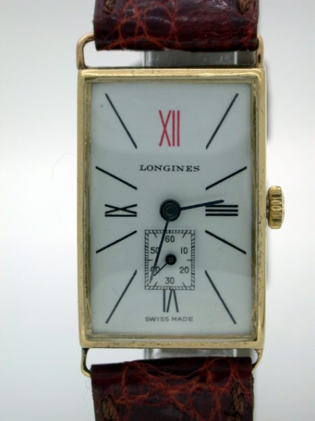 Mint Condition Solid 18k Gold Art Deco Wristwatch with Red 12. Superb!