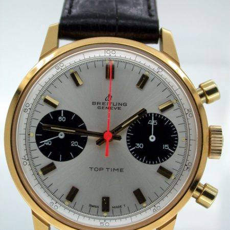 New Old Stock 1969 Top Time Geneve Orange Chronograph Hand. As New Condition. Original Factory Protective Sticker on Back