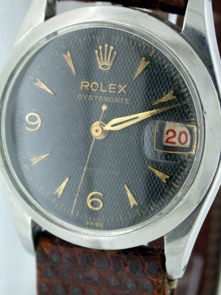 """Rare 1956 Mid-Sized Oysterdate Precision Ref. 6466 with Black and Gilt """"Waffle"""" Dial and Rare Alternating Red/Black """"Roulette"""" Date Wheel"""