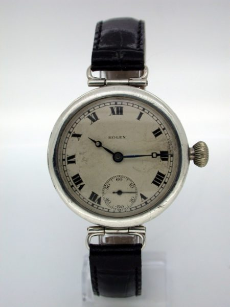 Rare and Beautiful 1923 Solid Silver Rolex Wristwatch with Hinged Lugs Very Early Example of Rolex. Comes with Cattanach Family Papers