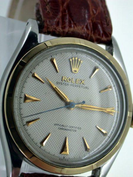 "Superb 1952 Oyster Perpetual Chronometer ""Semi-Bubbleback"" Automatic Wristwatc. Rare Original Condition White Rolex ""Waffle"" Textured Dial. Rare Original Rolex ""Super Oyster"" Signed Crown."