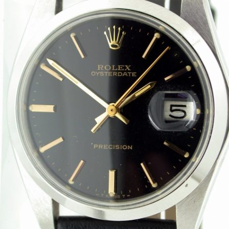 Superb 1978 Oysterdate with Rare Gloss Black and Gilt Dial with Gold Hands and Hour Markers. Original Rolex Throughout. Mint Condition