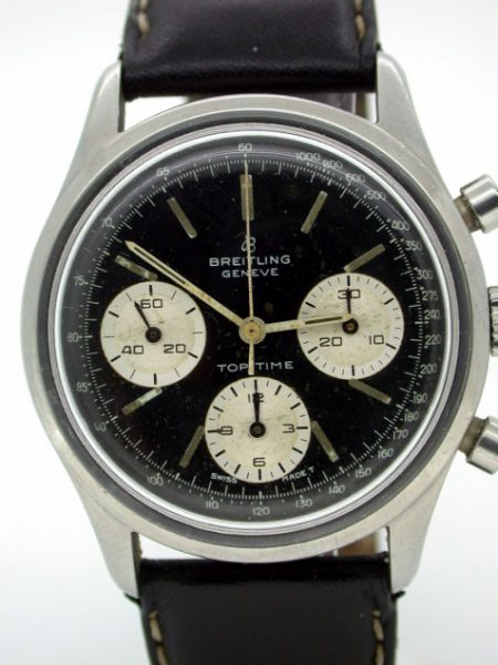 Top Time Geneve Chronograph Black Dial with Three White Sub-Dials