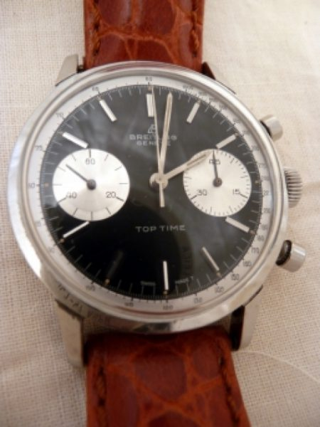 Top Time Geneve Chronograph Black Dial with Two White Sub Registers