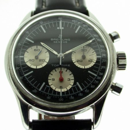 Top Time Geneve Chronograph Rare Black Dial with Large White Outer Minute Track and Three White Sub-Dials and Original Red Hand. Very Rare Original Dial. Original Breitling Buckle.