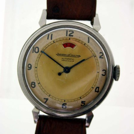 Vintage 1940s Powermatic Cal. 481 Rare and Collectible All Steel European Model with Very Nice Original Two-Tone Dial and Red Power Reserve Window. High Quality Jaeger Movement. Horn Lug Case