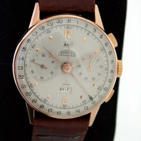 Vintage 1951 Chronodato Triple-Date Chronograph with Outer Calendar and Day/Date Windows in Large 18k Solid Rose Gold Case with Beautiful Dial. A Really Outstanding High Quality Chronograph