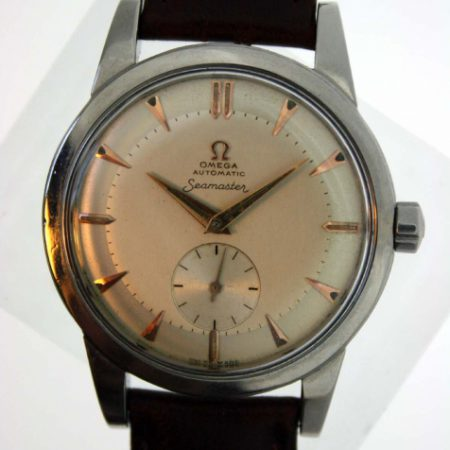 Vintage 1951 Large Oversized Cased Bumper Automatic Seamaster Cal. 342 with Original Two-Tone Dial with Arrow-Head Hour Markers in New Old Stock Condition with NOS Vintage Omega Buckle