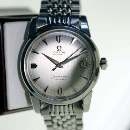 "Vintage 1957 Seamaster Calendar Automatic All  Steel Case with Rarer Over-Sized ""Seamonster"" Logo Case-Back on Original Omega Stainless Steel ""Beads of Rice"" Bracelet"
