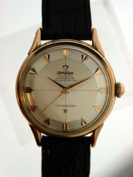 Vintage 1958 18k Rose Gold Pie-Pan Constellation Automatic Chronometre with Cal. 505 Movement and Original Cross-Hairs Dial with Arrowhead Hour Markers and Omega Signed Crown