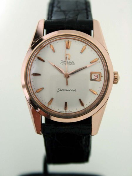 """Vintage 1960 Rare Automatic Seamaster Date Beautiful 18k Rose Gold/SS Case Original Dial with Rare Alternating Red/Black """"Roulette"""" Date Window and Arrowhead Hour Markers. Omega Crown"""