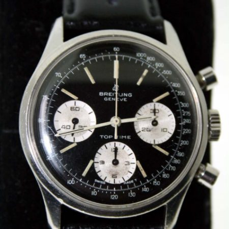 Vintage 1960s Geneve Top Time  810 Chronograph with Black Dial and Three White Sub-Dials Breitling Venus 178 Manual Winding Chrono Movement. A Desirable