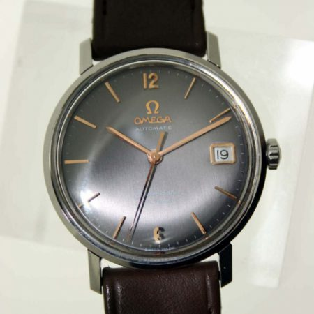 """Vintage 1960s New Old Stock """"NOS"""" Automatic Seamaster Calendar De Ville with Original Grey Dial with Bronze Hour Markers. Never Been Used on NOS Matching Omega Strap and Vintage Buckle"""