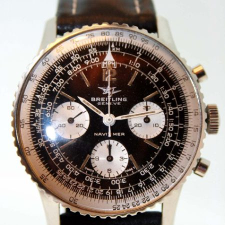 """Vintage 1965 James Bond """"Thunderball"""" Navitimer 806 with Original Two Planes Jet Logo Dial and Venus 178 Manual Winding Chronograph Movement on Breitling Strap and Buckle"""