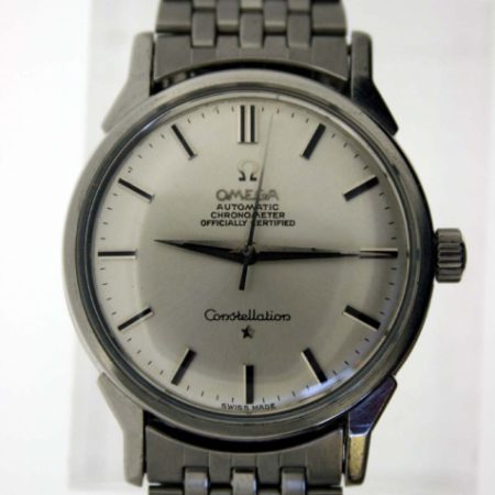 Vintage 1966 Constellation Automatic Chronometer Cal. 551 Mint Condition in All Stainless Steel Case with Signed Crown Original Dial with Onyx Hour Markers and Dauphine Hands on Vintage Omega Bracelet