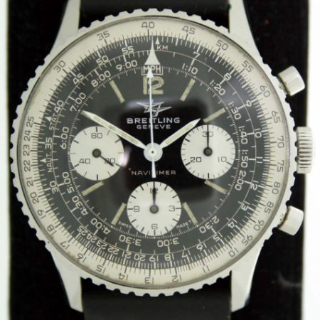 Vintage 1967 806 Navitimer Chronograph in Superb Original Condition Two-Planes Logo Dial. Venus 178 Movement in all Stainless Steel Case. On Breitling Style Black and White Stitched Strap
