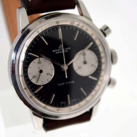 Vintage 1967 Top Time Geneve Ref. 2002 in Steel with Perfect Original Black Dial and Two Silver Sub-Dials with Round Pushers Original Signed Crown New Breitling Stitched and Padded Strap