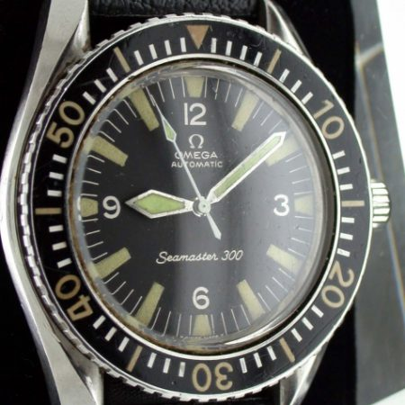 "Vintage 1968 Seamaster 300 Automatic ""Big Crown"" Diver's Watch Reference 165.024 in Stunning Original Condition on NOS Vintage Tropic Strap. One Owner From New"