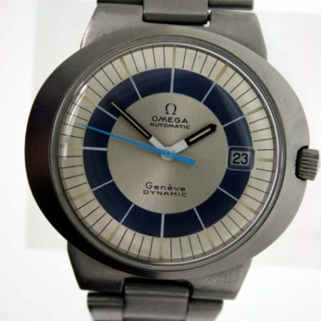 """Vintage 1969 Automatic Geneve Dynamic Calendar with Original """"Bulls Eye"""" Dial in Perfect Condition in Sought After Blue and White. Brushed Stainless Steel Case with Original Integrated Omega Bracelet"""