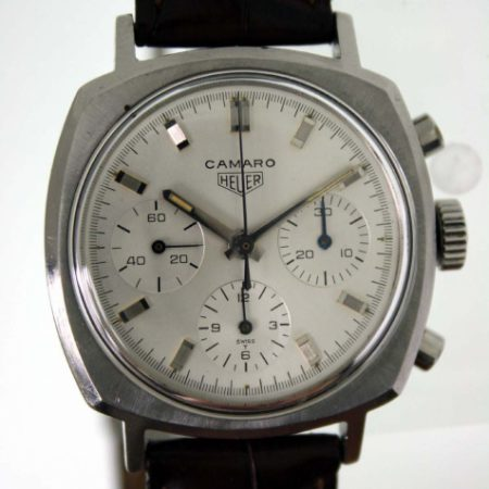 Vintage 1969 Camaro Chronograph Ref. 7220 All White Dial All Steel Screw-Back Case Heuer Signed Valjoux 72 Manual Winding Movement on Genuine Crocodile Tag Heuer Deployment Strap