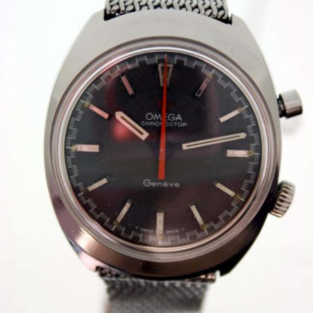 Vintage 1969 Chronostop Geneve Cal. 865 Flyback Chronograph with Racing Dial and Red/Orange Central Hand on Original Vintage Omega Steel Mesh Deployment Bracelet