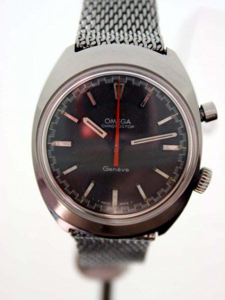 Vintage 1969 Chronostop Geneve Cal. 865 Flyback Chronograph with Racing Dial and Red/Orange Central Hand on Original Vintage Omega Steel Mesh Deployment Bracelet