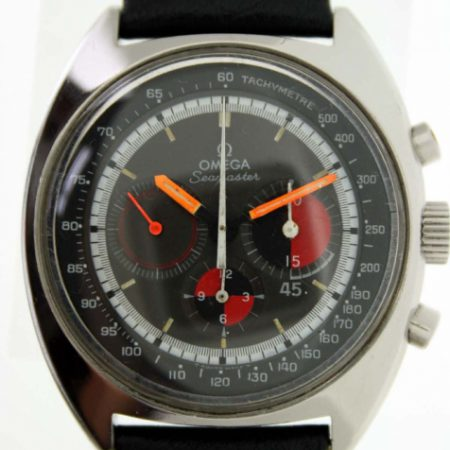Vintage 1970 Cal. 861 Seamaster 'Soccer Timer' Chronograph with Original Omega Black/Red Tachymetre Dial Orange Hands in Big Tonneau All Steel Case All Mint Perfect Original Condition