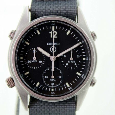 Vintage 1986 First Generation British Military RAF Issued Pilots' Chronographs with Broadarrow and Correct Military Issue Numbers 6645-99 7683056 on Case-Back. New Mineral Glass