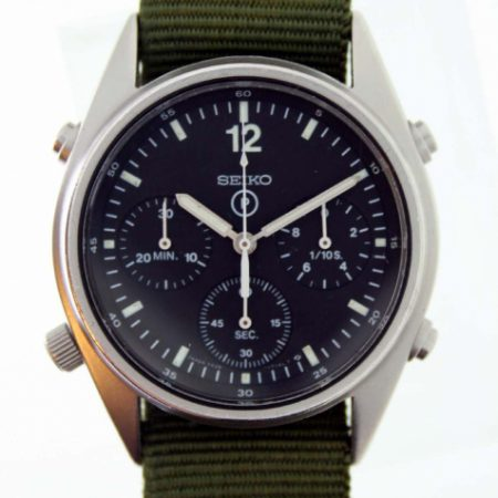"Vintage 1989 First Gulf War ""Operation Desert Storm"" Gen.1 British Military RAF Issued Pilot's Chronographs with Broadarrow and Correct Military Issue Numbers 6645-99 7683056 on Back"