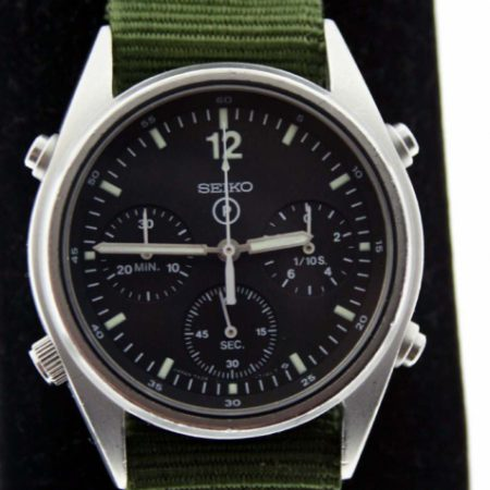 "Vintage 1990 Gen.1 British Military Chronograph from the First Gulf War ""Operation Desert Storm""  RAF Issued with Correct Broadarrow and 6645 Military Issue Markings. New Mineral Glass"