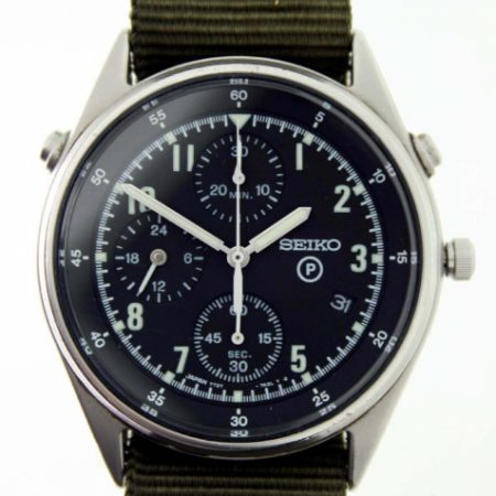 Vintage 1993 RAF Pilot's Chronograph 2nd Generation Model British Military Issued with Broadarrow and Issue Numbers 6645-99-8149181 on the Case-Back Bought Directly From RAF Pilot