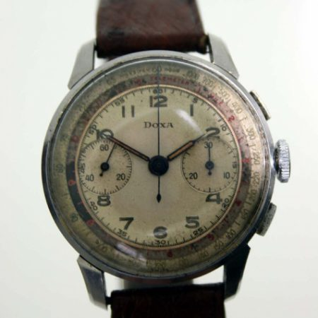 Vintage c1940 WW2 US Navy Pilot's Military Chronograph with Valjoux 22 Movement Beautiful Original Telemeter and Tachymeter Dial with Original Hands in All Steel Snap-Back Case